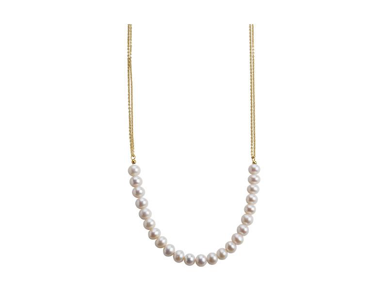 Lang halskæde i forgyldt sølv med hvid ferskvandsperle 10-11 mm