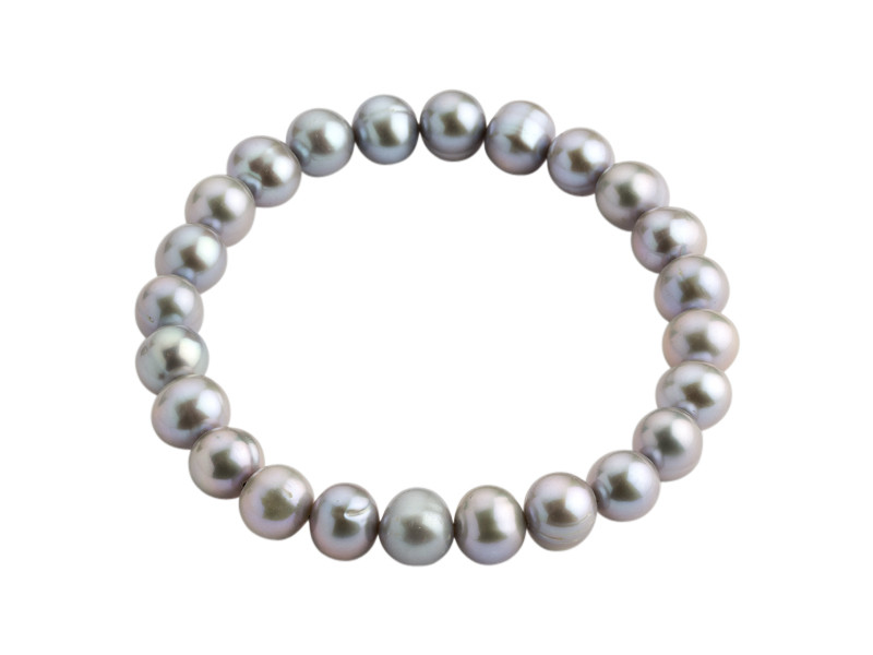 Armbånd med ferskvandsperler grå 8-8,5 mm