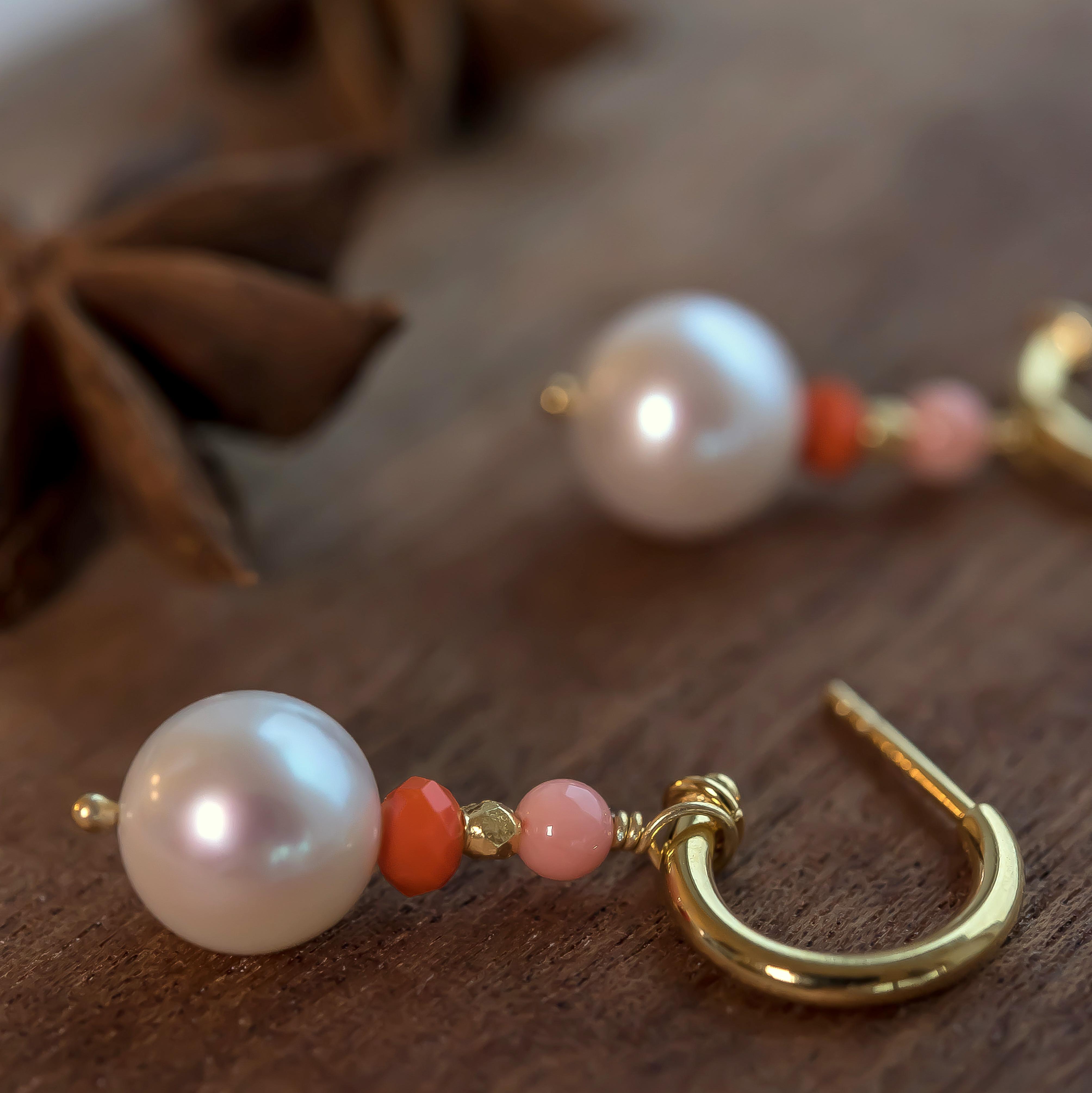 Creol med hvid perle 10 mm og små sten, sølv