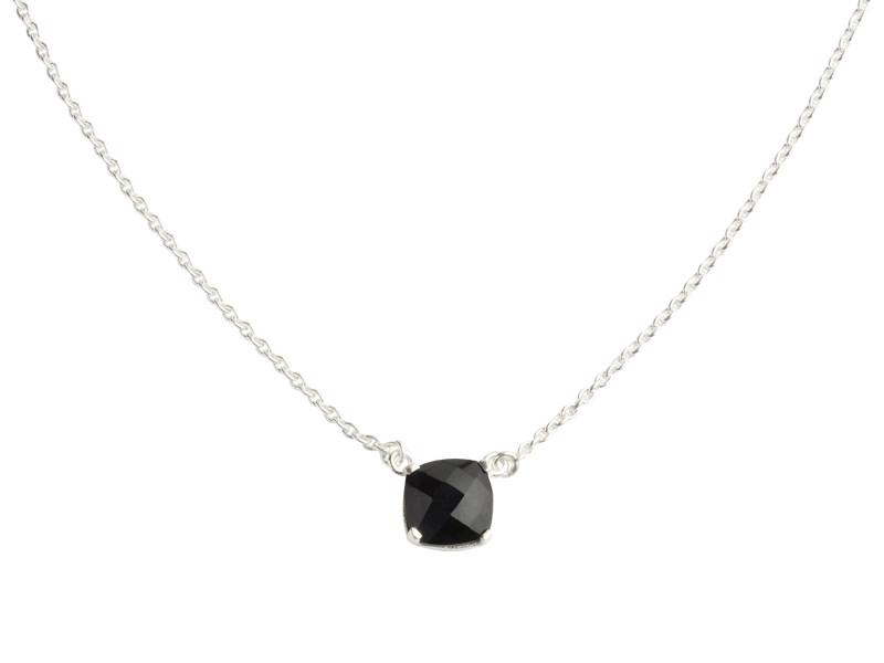 Nola halskæde sølv med 10 mm facetteret onyx