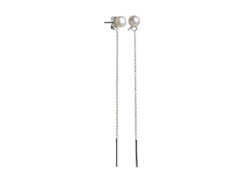 Ørestik sølv med kæde og hvid ferskvandsperle