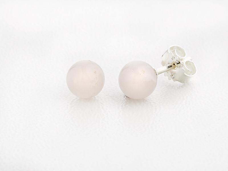 Sølv ørestik 6 mm blank rosaquartz
