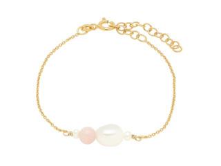 Armbånd med pink opal og barok perle sølv el. forgyldt sølv