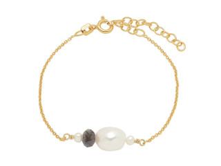 Armbånd med blå iolit og barok perle sølv el. forgyldt sølv
