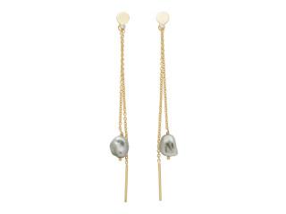 Ørestik med grå barok keshi tahitiperle og kæde sølv el. forgyldt sølv