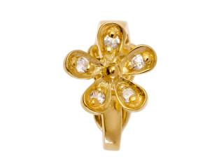 Dream On clips m. blomst i forgyldt sølv m. syn. zircon.
