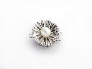 Lås med indstik rund flad 14 mm mat sølv med imiteret perle