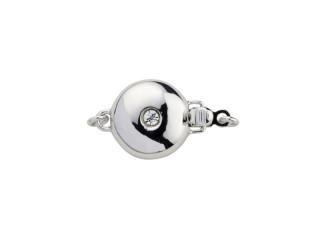 Lås med indstik rund m. krystaller 11 mm blank sølv