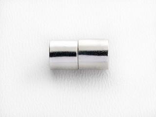 Magnet lås cylinder 13 x 6,5 mm blank forsølvet kobber
