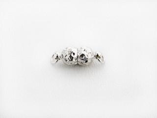 Magnet lås dobbelt kugle 6 mm nubret sølv