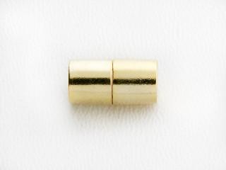 Magnet lås cylinder 13 x 6,5 mm blank forgyldt sølv