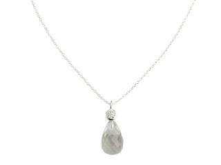 Sølv halskæde m. facetteret bjergkrystal og zirkon