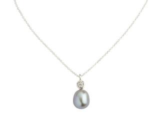 Sølv halskæde m. 8-8,5 mm grå ferskvandsperle med syn. zirkon