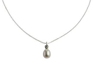 Sølv halskæde m. 8-8,5 mm hvid ferskvandsperle med syn. zirkon