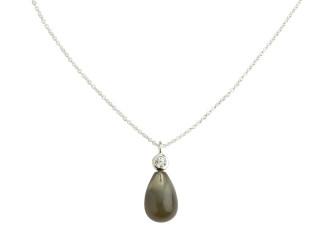 Sølv halskæde m. blank grå månesten og zirkon