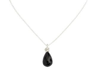 Sølv halskæde m. facetteret onyx og zirkon