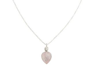 Sølv halskæde m. facetteret rosenkvarts og zirkon
