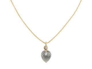 Forgyldt sølv halskæde m. facetteret bjergkrystal og zirkon
