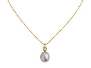 Forgyldt sølv halskæde m. 8-8,5 mm grå ferskvandsperle med syn. zirkon