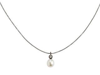 Sort rhodineret sølv halskæde m. 8-8,5 mm hvid ferskvandsperle med syn. zirkon