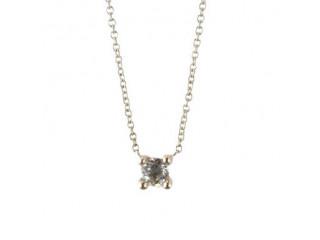 Sølv halskæde 42/45 cm. m. hvid topas
