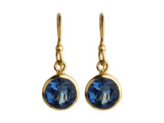 Aia ørering 8 mm forgyldt sølv med facetteret blå sten