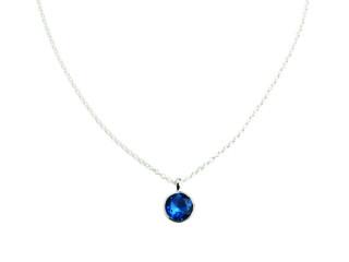 Aia halskæde 10 mm sølv med facetteret blå sten