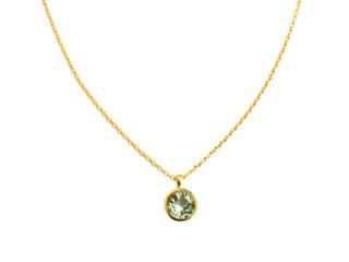 Aia halskæde 10 mm forgyldt sølv med facetteret prasiolit