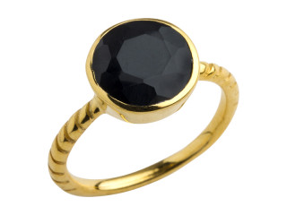 Aia ring 10 mm forgyldt sølv med facetteret onyx