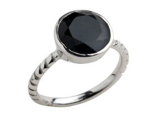 Aia ring 10 mm sølv med facetteret onyx