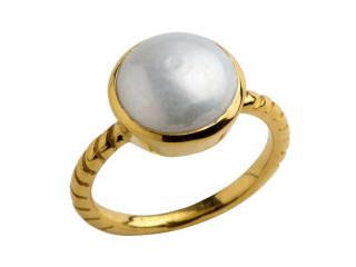 Aia ring 10 mm forgyldt sølv med ferskvandsperle