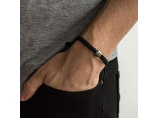 Knyttet herrearmbånd med grå barok tahitiperle 11-13 mm