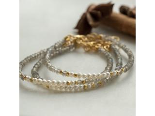 Armbånd med labradorit og perler, sølv el. forgyldt sølv
