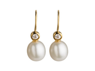 Forgyldt sølv ørering m. hvid perle 8,5-9 mm og zirkon