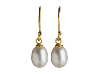 Ørering med 6,5-7 mm hvid ferskvandsperle, sølv, forgyldt sølv el sort sølv