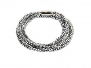 Armbånd med facetteret sølv hæmatit, magnetlås