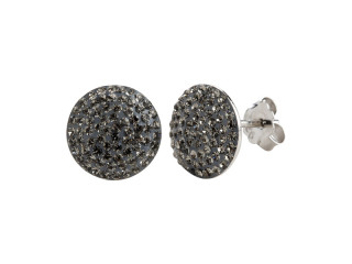 Sølv ørestik 10 mm plade med grå sten
