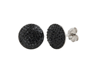 Sølv ørestik 10 mm plade med sorte sten