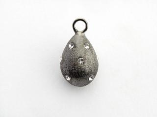 Dream On vedhæng 13 x 9 mm sort rhodineret sølv dråbe m. syn. zircon