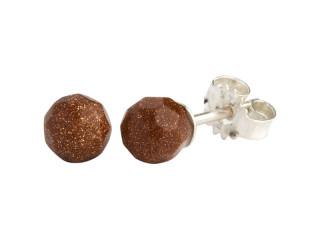 Sølv ørestik 6 mm facetteret brun guldsten