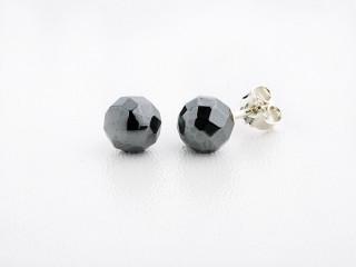 Sølv ørestik 8 mm facetteret hæmatit