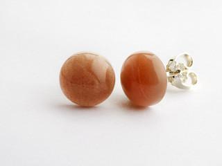Sølv ørestik 10 mm cabochon blank peach månesten