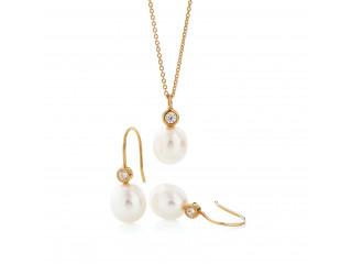 Mira sæt med øreringe og halskæde med hvid perle