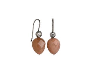 Sort rhodineret sølv ørering m. facetteret peach månesten og zirkon
