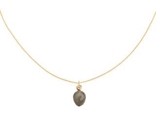 Forgyldt sølv halskæde m. facetteret grå månesten og zirkon