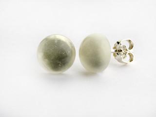 Sølv ørestik 10 mm cabochon blank hvid månesten