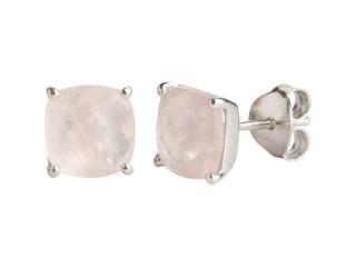 Nola ørestik sølv med 8 mm facetteret rosenkvarts