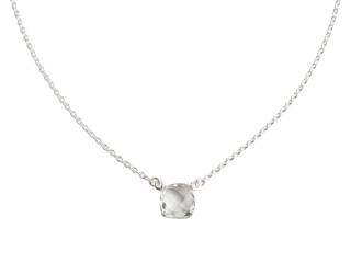 Nola halskæde sølv med 10 mm facetteret bjergkrystal