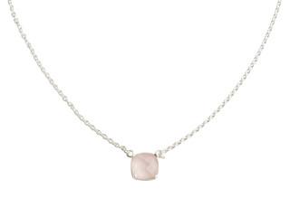 Nola halskæde sølv med 10 mm facetteret rosenkvarts