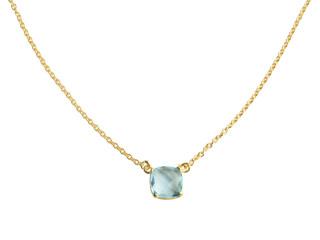 Nola halskæde forgyldt sølv med 10 mm facetteret blå sten